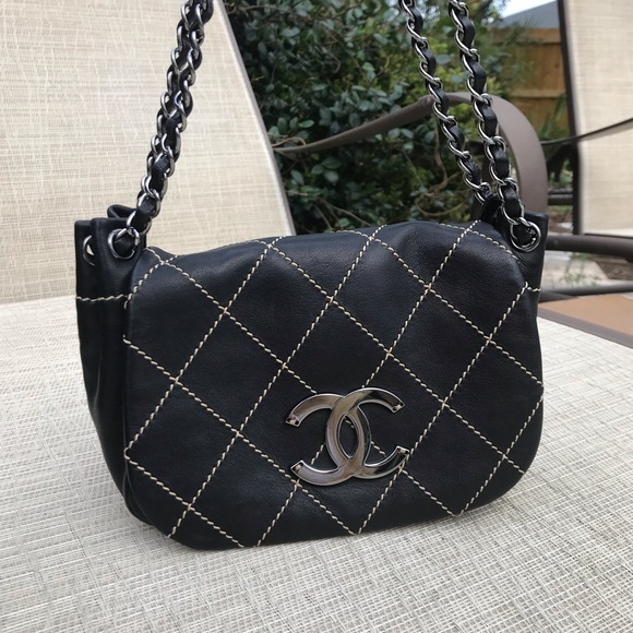 NEW Chanel Black Leather Wild Stitch Flap Bag f3e1feb52b1b